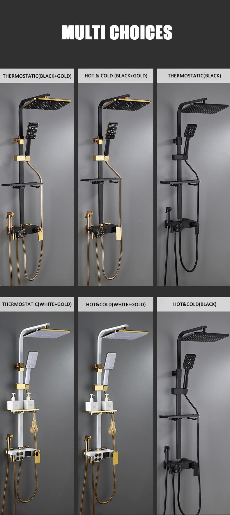Hf76f83fbe1f74c588a4845320982a9f7G Hot Cold Shower System Bathroom LED Digital Shower Set Wall Mount Smart Thermostatic Bath Faucet Square Head SPA Rainfall Grifo