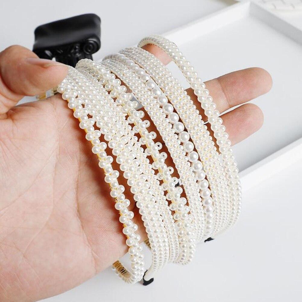 1Pcs New Korean Double Rhinestone Pearl Hair Accessories Headband Exquisite Crystal Headband Shiny Metal Hairband Hair Hoop