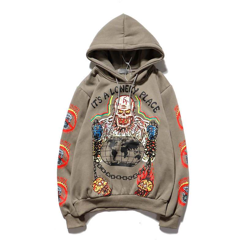 Kanye Fleece Skull Graffiti Mens Sweatshirt Oversize Harajuku Loose Casual Couple Hoodies Stranger Things Hooded Hoodie 2020