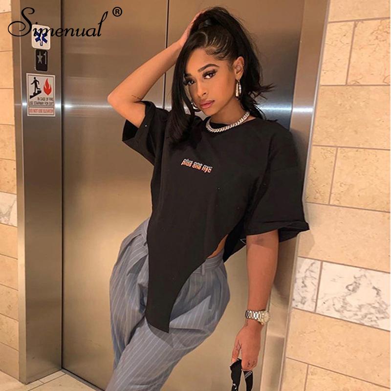 Simenual Letter Print Cut Out Casual T Shirts Oversized Streetwear Short Sleeve Women Crop Top Fashion Streetwear Black Tees Hot