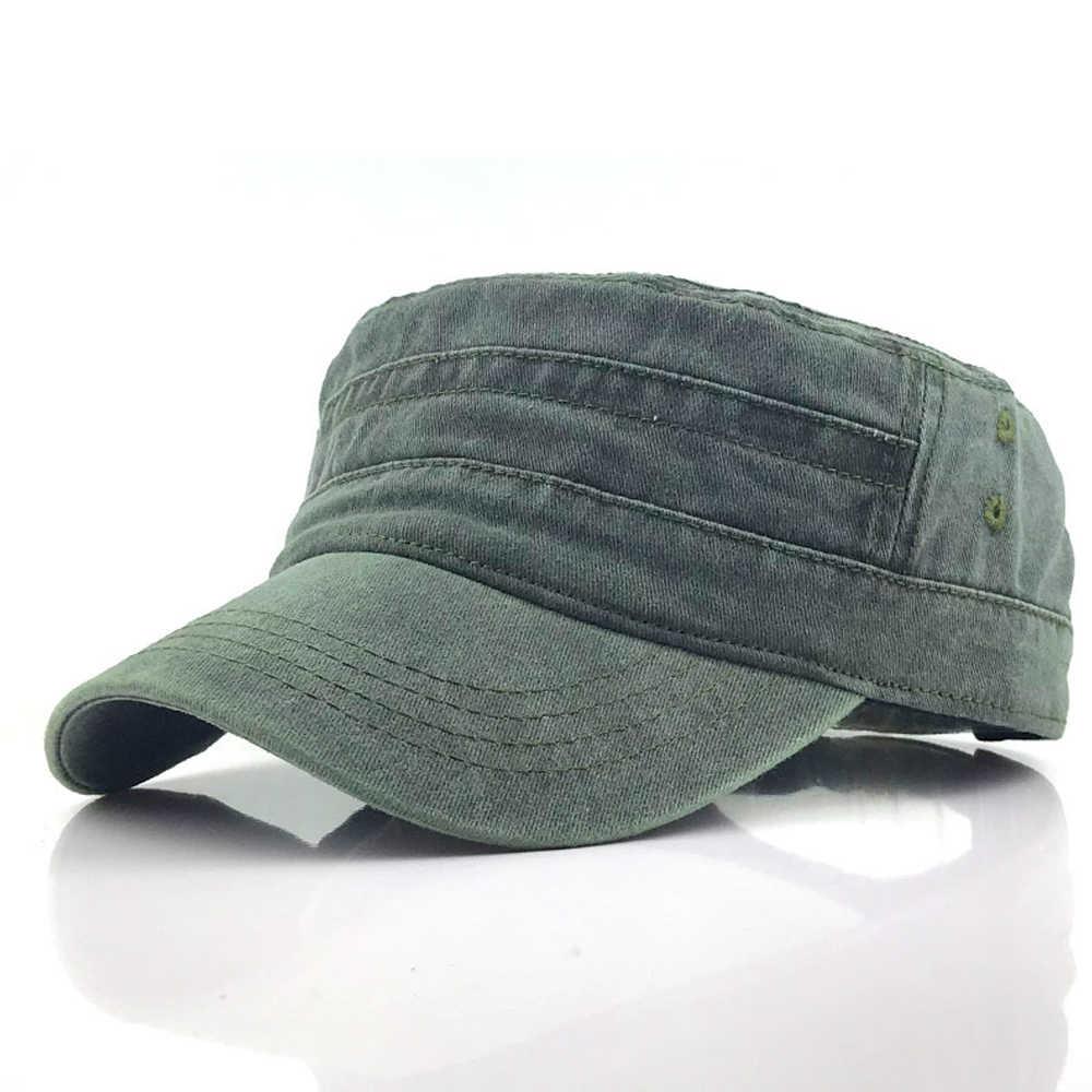Gorra militar de Color sólido para hombre, gorra plana ajustable estilo militar, gorra de Sol de estilo clásico con protector solar, sombrero Casual 1 unidad