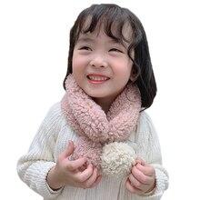 Зимний теплый плюшевый шарф для маленьких мальчиков и девочек, детские шарфы с воротником и шаром, шейные платки для малышей