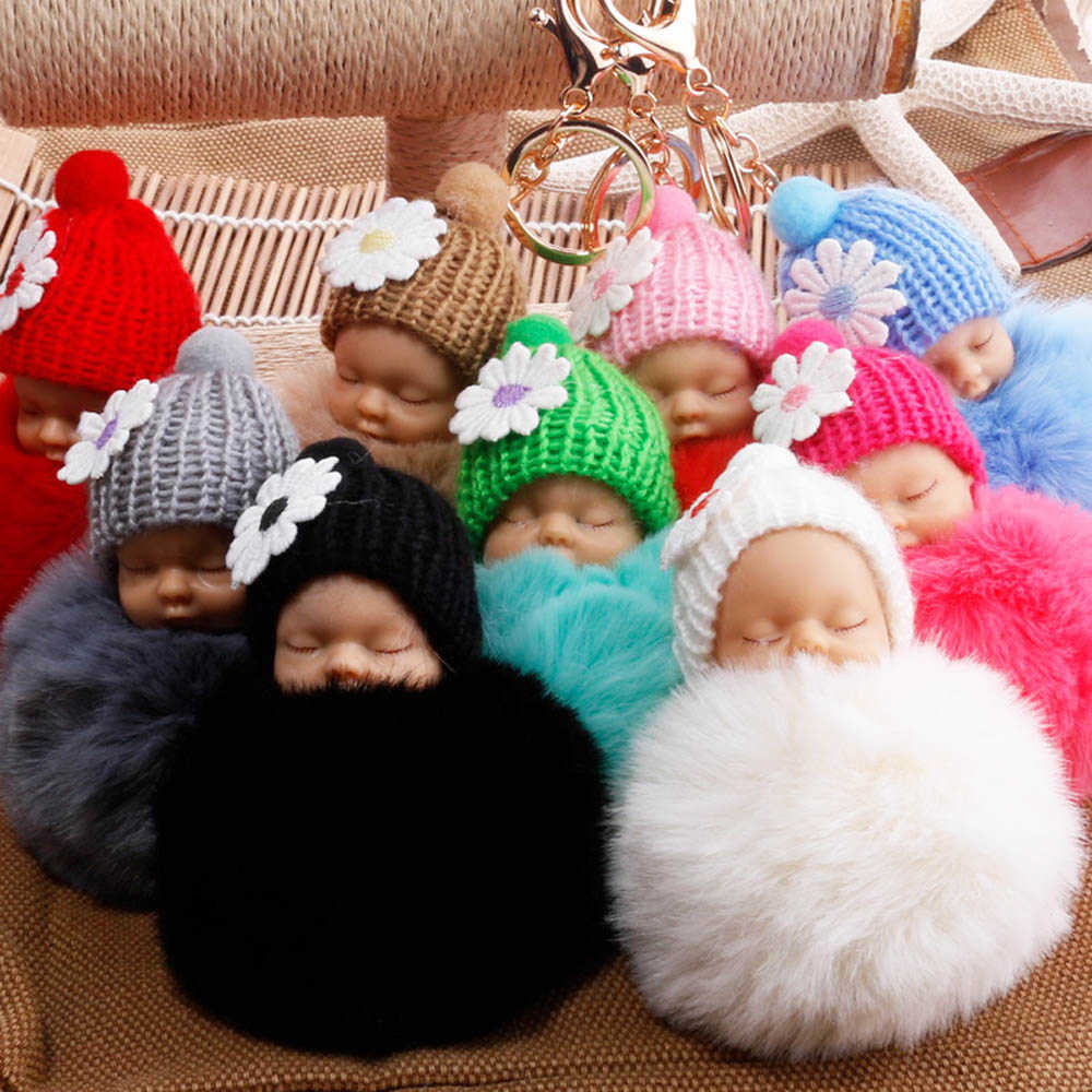 New Sleeping Doll Baby Keychain Cute Fur Pom Pom Key Chain Women Jewelry Car Key Ring Keychain Jewelry Gift Fluffy Keychain