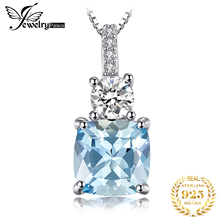 JewelryPalace 2.2ct Cushion-Cut Genuine Sky Blue Topaz Pendant Necklace 925 Sterling Silver Jewelry for Women Fine Jewelry almei 2018 10ct cushion cut genuine sky blue topaz pendant necklace 925 sterling silver 45cm box chain fine jewelry 40% fn005