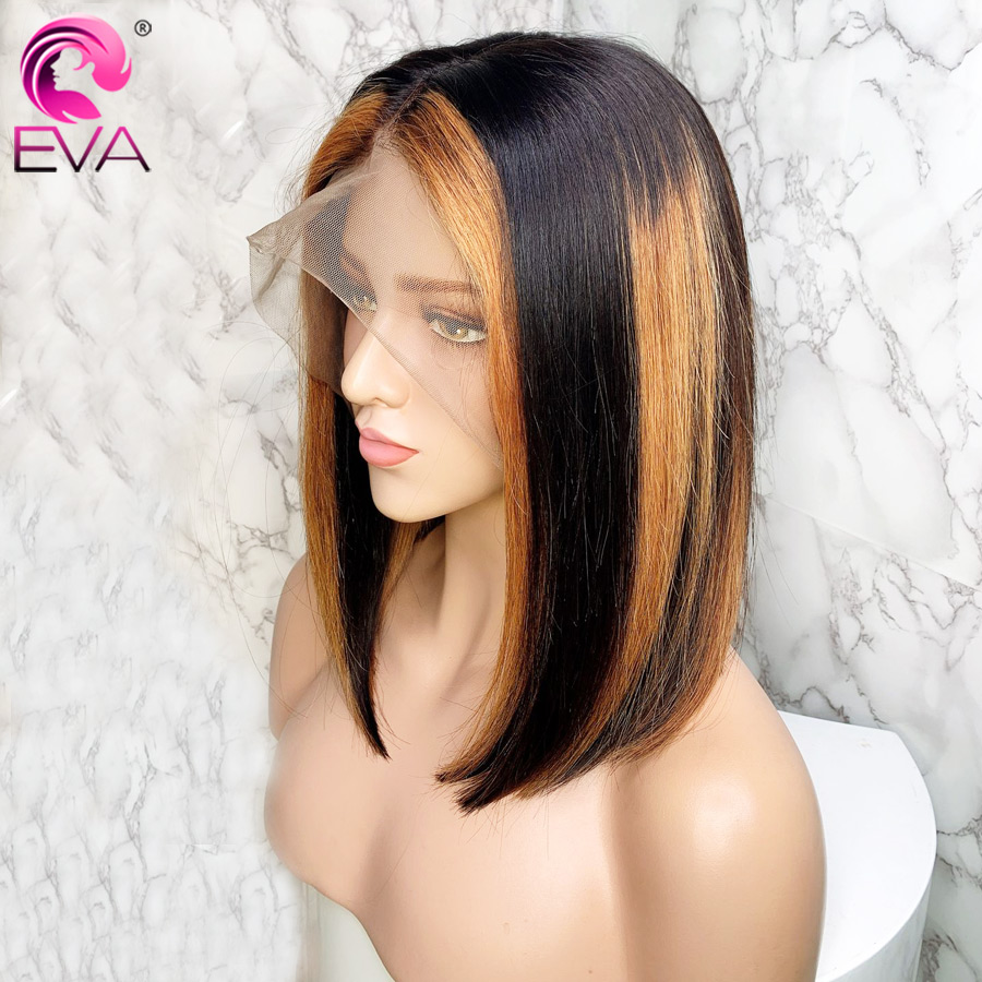 Eva Hair Ombre Highlight Lace Front Human Hair Wigs Pre Plucked 13x6 Straight Lace Front Wig With Baby Hair Brazilian Remy Hair
