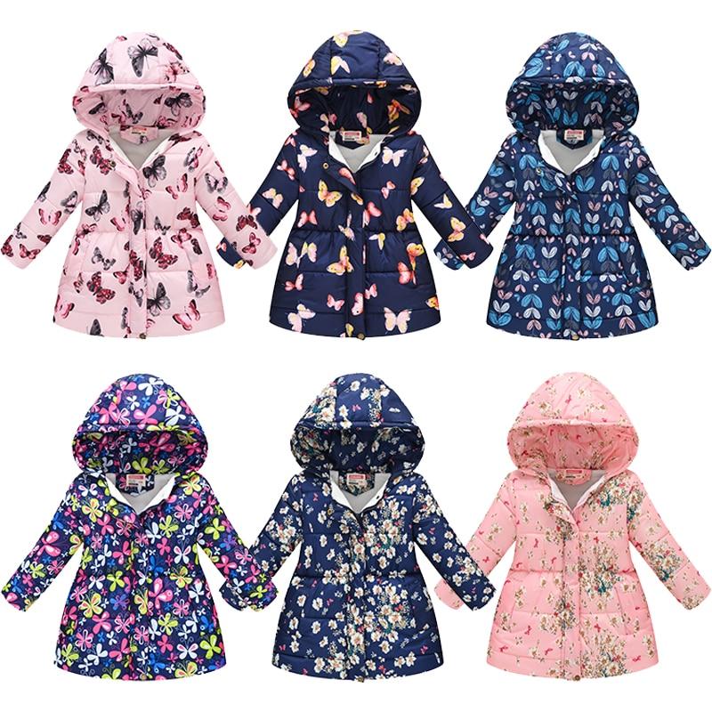 Модные детские куртки для девочек; Сезон осень-зима; Теплая пуховая парка для девочек; Пальто; Детская теплая куртка с капюшоном и принтом; В...