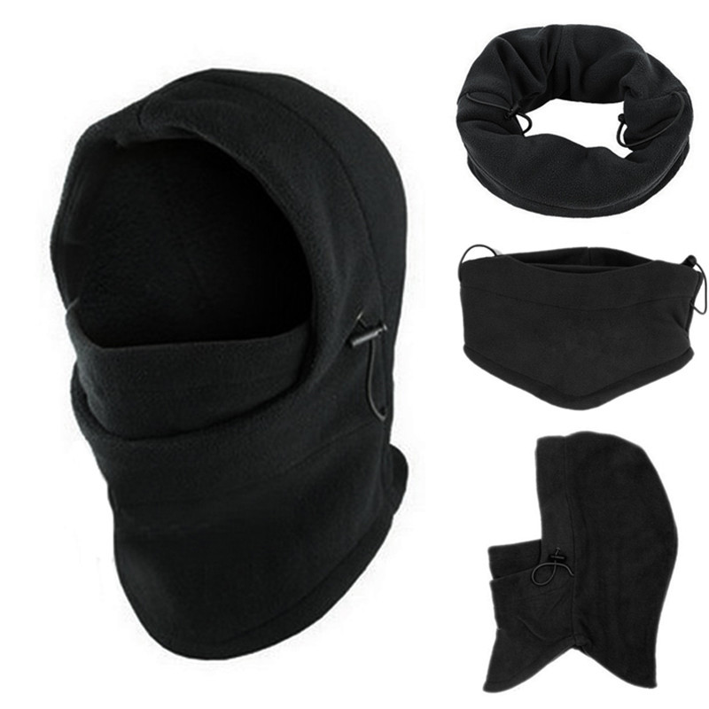 Black Headgear Hat Fashion 6 In 1 Neck Balaclava Winter Face Hat Fleece Hood Ski Mask Warm Helmet Dropship