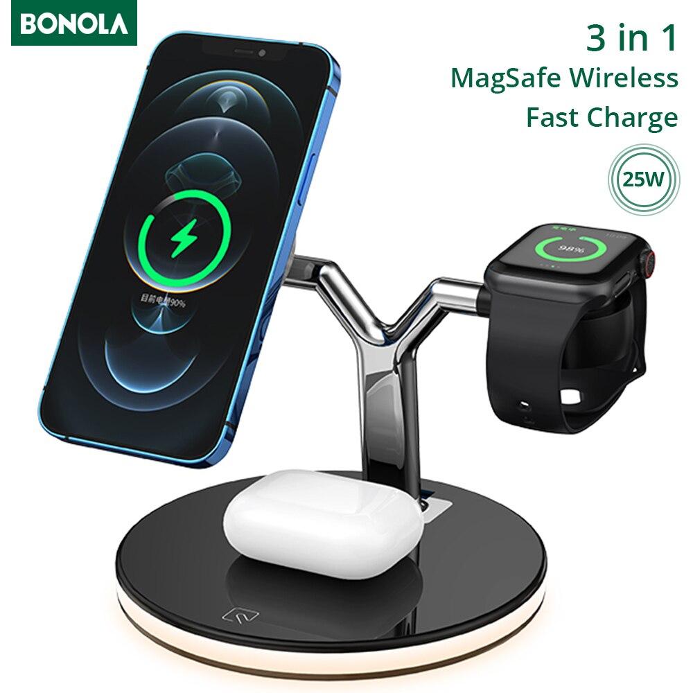 Bonola 15w 3 em 1 chager sem fio para iphone 12s/12pro iwatch airpods pro magnético estação de carregamento rápido doca suporte toque luz