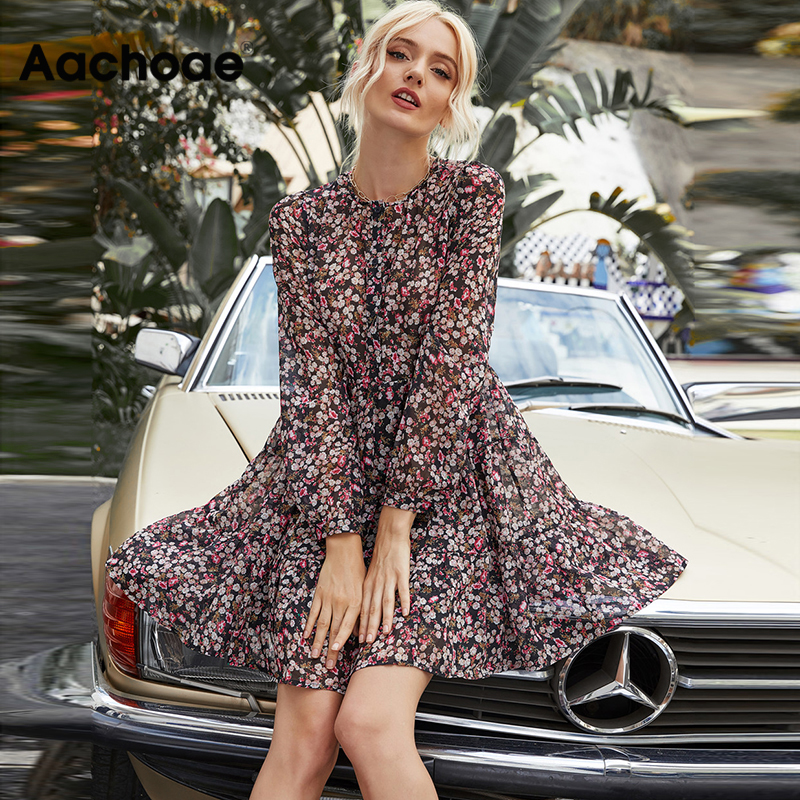 Aachoae Boho Style Floral Print Pleated Dress Long Sleeve Women Mini Dress O Neck Loose Ladies Dresses Beach Sundress Ropa Mujer