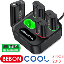 Beboncool 4 Slot Charger For Xbox One/Xbox One S/X Controller 4x1200mAh Rechargeable Battery Pack USB Charger With LED Indicator