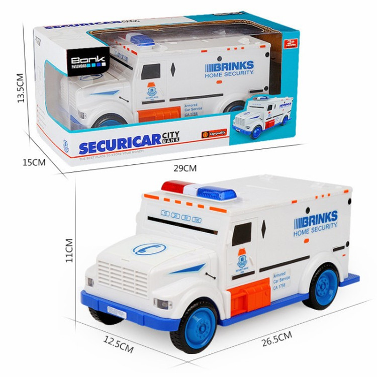Fingerprint Password Cash Truck Car Piggy Bank Kids Money Box Coin Paper Bank Safe Saving Storage Box Alcancias Music Toy Gift