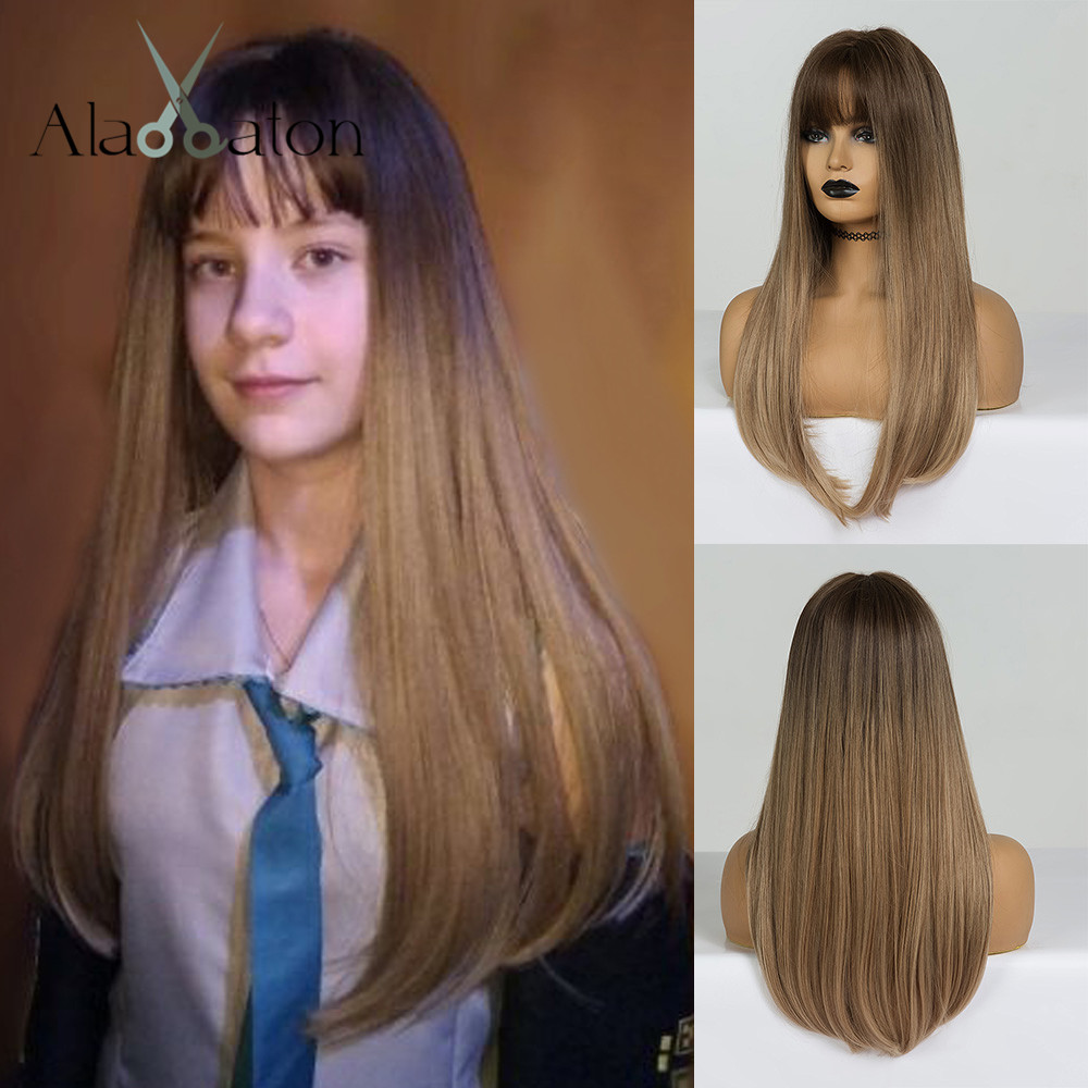 ALAN EATON Long Straight Wig With Bangs Dark Brown Blonde Ombre Synthetic Hair Wigs For Black Women Heat Resistant Cosplay Wigs