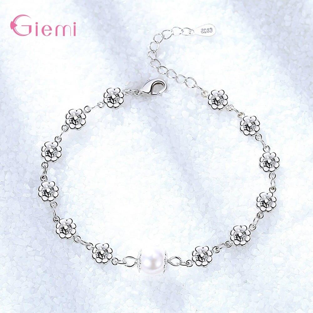 New Fresh 925 Sterlig Silver Plum Flower Pearl Charm Bangle Bracelet for Women Girl Fashion Trendy Jewelry Gift Ornament 2