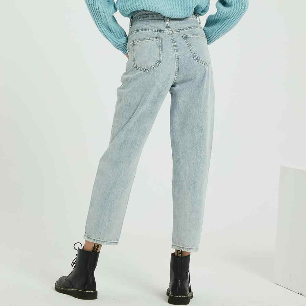 Wixra 2019 ใหม่ BF Casual ผู้หญิง DENIM กางเกงสูงเอวกระเป๋า Jean กางเกงฤดูใบไม้ผลิฤดูใบไม้ร่วงกางเกงยีนส์