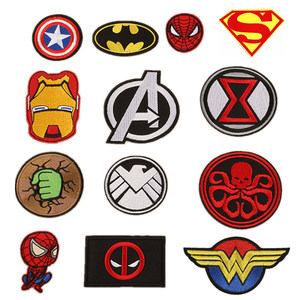1PCS The Marvels Avengers Deadpool anime Iron Man Patches Fabric Sticker Clothes Badge Embroidered Appliques DIY accessories(China)