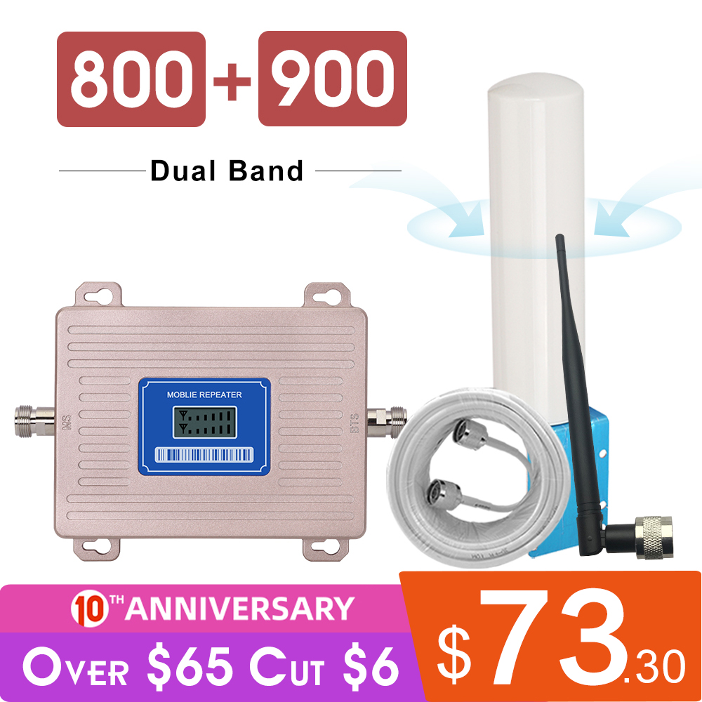 360 Degree Antenna Amplifier 4G LTE 800 2G GSM 900 Mhz Signal Repeater B20 B8 LCD Display 65 DB Gain 2g 3g 4g 800 900mhz Booster