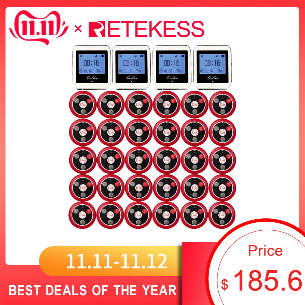 RETEKESS Wireless Waiter Calling System For Restaurant Service Pager System Guest Pager 4 Watch Receiver + 30 Call Button F3288B-in Pagers from Computer & Office