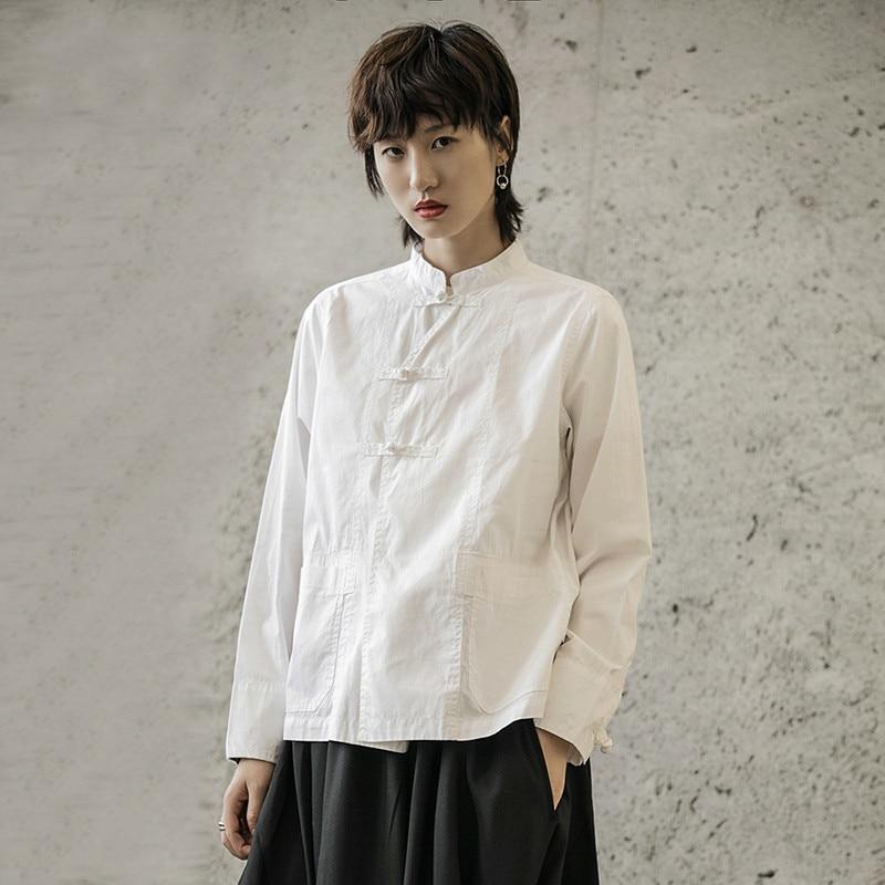 TVVOVVIN Vintage col montant poche chemise à manches longues Style chinois couleur unie Blouse femmes 2019 automne haut de taille slim femmes D401