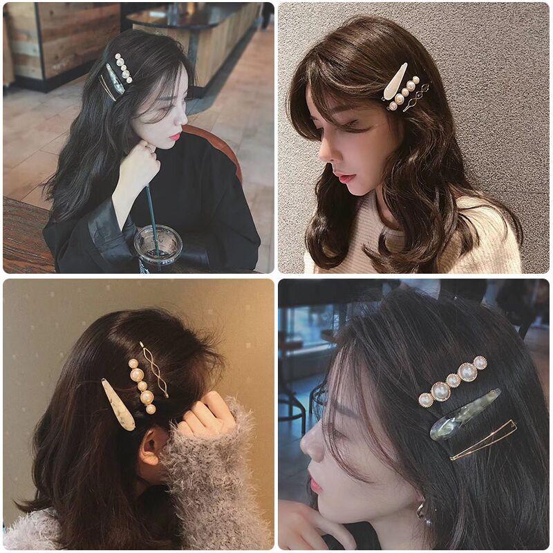 Vintage Pearl Barrettes For Women Fashion Brand Acetate Hair Clip Trendy Geometric Hairpins Hair Accessories Head Wear