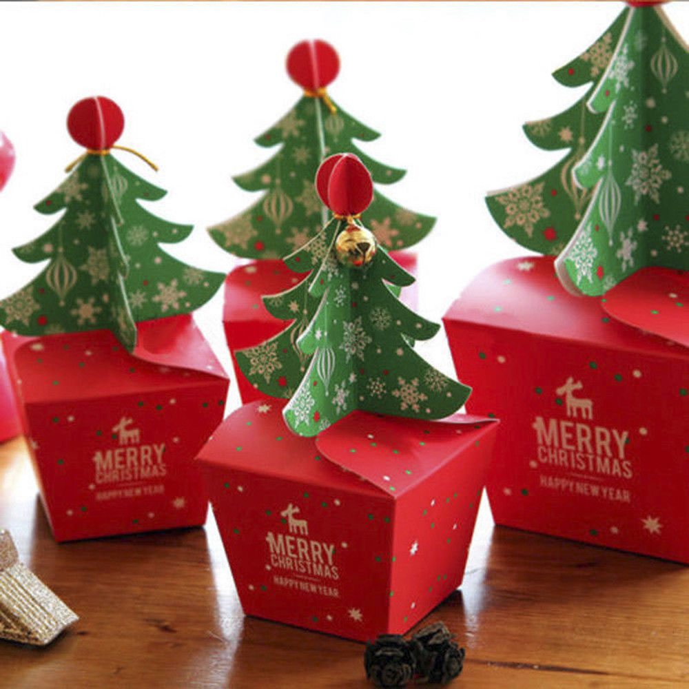 Hot Sale 11.5x11.5 Cm Christmas Tree Packing Box  Favor Bag Gift Cookie Candy Box Apple Boxes With Bells Party Decoration