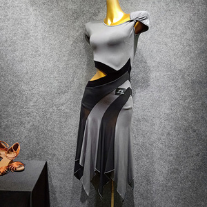 Image 3 - Vũ Điệu Latin Đầm Xám Tay Ngắn Rumba Tango Salsa Cha Nhảy Đầm Thực Hành Quần Áo Phụ Nữ Người Lớn Hiệu Suất Mặc DN3841