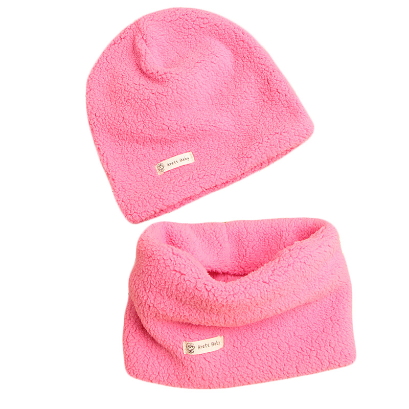 New Autumn Winter Cotton Knitted Children Hat Collar  Set Boys Girls Plush Hats Scarf Set Baby Solid Color Scarf Cap Two-pieces