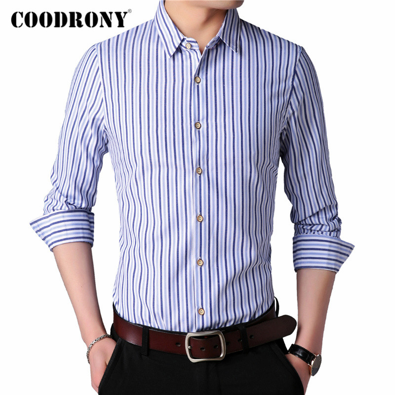 COODRONY Long Sleeve Shirt Men Clothes Spring Autumn Classic Striped Cotton Shirts Business Casual Camisa Social Masculina C6016