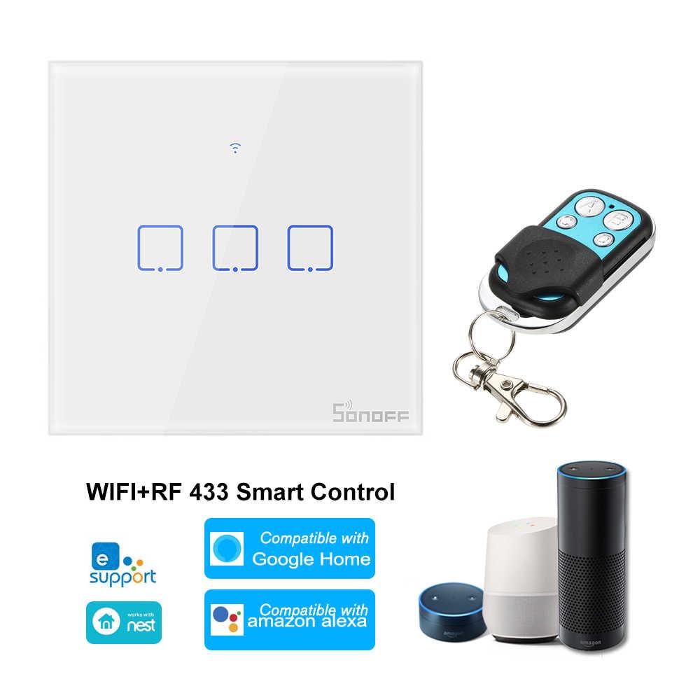 SONOFF T1 inteligentnego domu WiFi ścianie włącznik światła 433Mhz ue bezprzewodowy pilot sterowania pilot RF APP sterowania współpracować z Google/ alexa