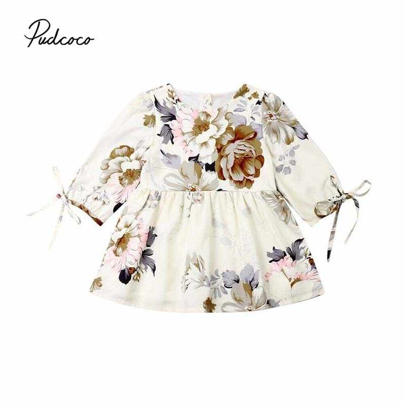 2019 Baby Spring Autumn Clothing Toddler Kids Baby Girls Bowknot Long Sleeves Floral Dress Casual Holiday Tutu Dresses 6M-5T
