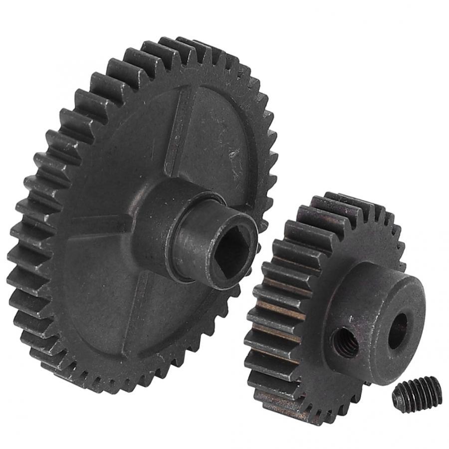 2 pçs de metal aço rc engrenagem do carro grande engrenagem de redução pequena engrenagem do motor sapre peças apto para wltoys 144001 1/14 rc carro modelo acessório
