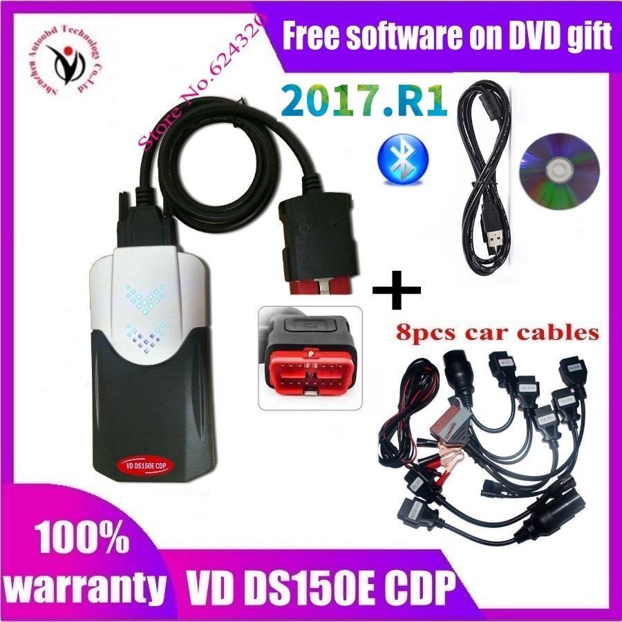 2020 New Vci vd ds150e cdp 2017R1 Free Active VD TCS CDP Pro with Bluetooth Diagnostic tool for delphis Cars Trucks OBD2 Scanner