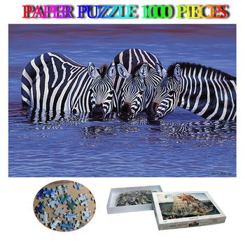 Zebras In The Water Paper 1000 Pieces Puzzle African Animals Jigsaw Puzzle Adults Puzzle Brain Trainer Toys Kids Children Gift