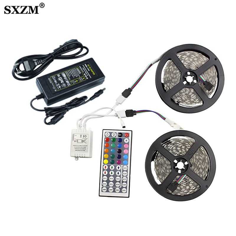 SMD 5050 RGB LED Strip Set Flexible Tape DC12V 5M 10M 15M Waterproof With 44key IR Remote Controller With Adapter Led Lighting