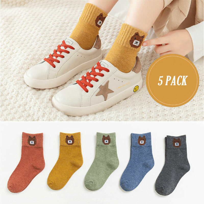 5 Pairs Autumn Winter New Cartoon Children Socks Cotton Socks Baby Kids Socks Warm Animal Bear Star Cute Boys Girls Socks Sport