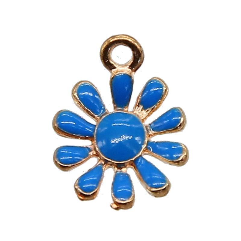 10pcs / pack purple blue chrysanthemum flower enamel pendant pendant DIY bracelet accessories necklace DIY craft wholesale