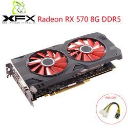 XFX AMD Radeon RX 570 8GB DDR5 بطاقة جرافيكس AMD GPU RX570 8GB 256Bit بطاقة فيديو لعبة كمبيوتر مكتبي مستعملة RX 570 بطاقة فيديو