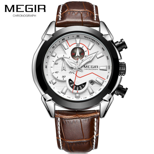 MEGIR New Fashion Mens Watches Top Brand Luxury Big Dial Military Quartz Watch Leather Waterproof Sport Chronograph Watch Men | Fotoflaco.net