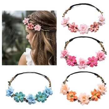Handmade Women Flower Wreath Headband Halo Floral Crown Garland Headpiece Wedding Festival Party Girls Photo Props image