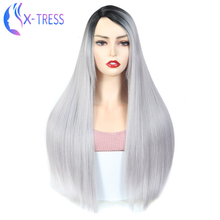 Ombre Grey Color Synthetic Hair Wig With Bands X-Tress Fashion Lace Par