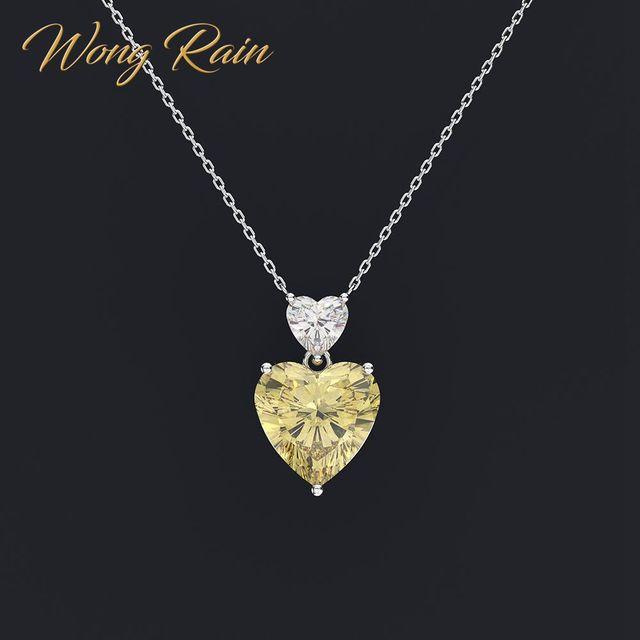 Wong Regen Romantische 100% 925 Sterling Zilver Liefde Hart Moissanite Citrien Sapphire Edelsteen Hanger Ketting Sieraden Groothandel