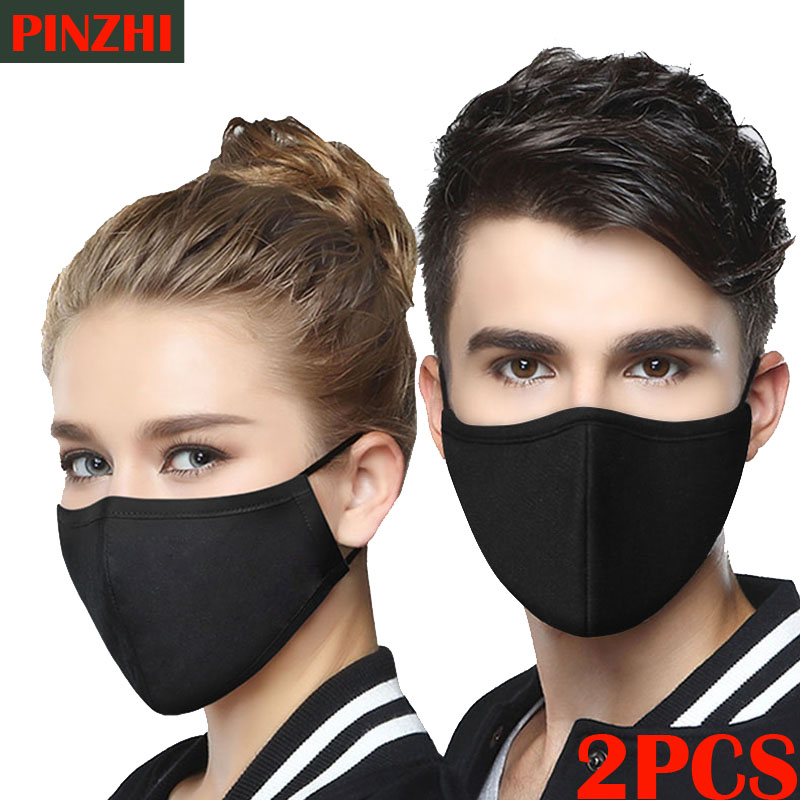 Mask 2pcs Cotton Breathing Valve  PM2.5 Face Mouth Mask  Dust-proof And Haze Filter Black Mask Civil Man And Woman Winter Mask
