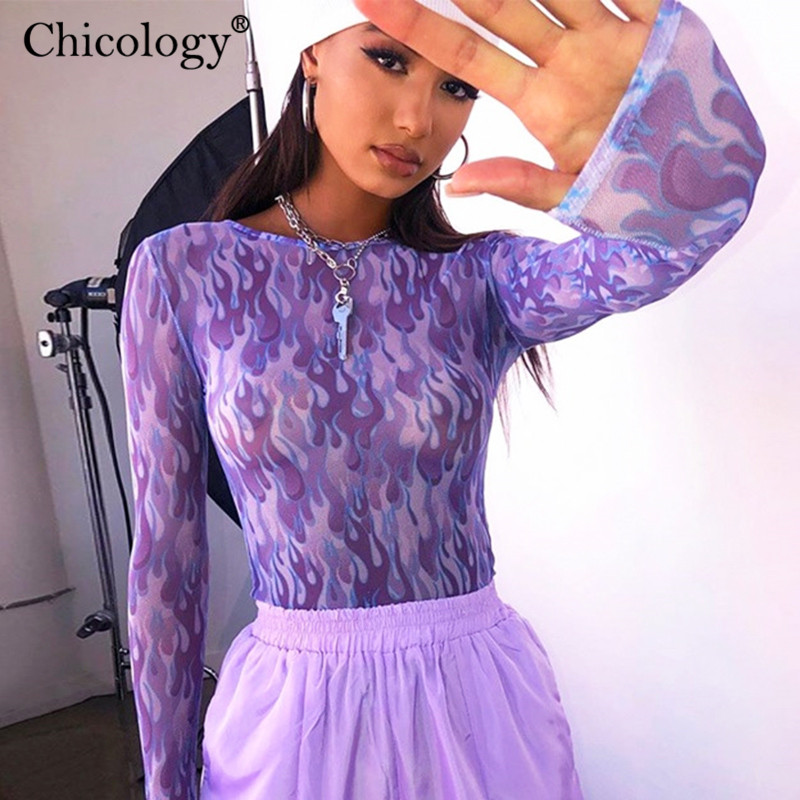 Chicology Mesh Neon Fire Print T-shirt Women Long Sleeve Crop Top Tshirt 2019 Autumn Winter Streetwear T Shirt Female Clothes