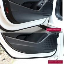 4pcs Car Door Anti Kick Pad Protection Decals For Audi A3 Q3 Q5 Q7 Carbon Fiber Stickers Auto Interior Accessories 1 pc carbon fiber car interior trim control panel stickers for audi q5 10 17