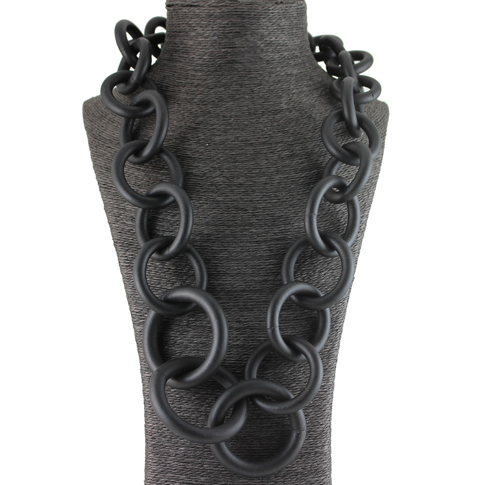 New Handmade Fashion Jewelry Rubber Long Necklace Circle Chain Clothing Accessories Punk Pendant Necklace Party Gift Jewellery