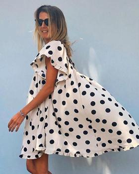 Casual Loose Women Retro Polka Dot Short Sleeve Summer O-Neck Dress 1