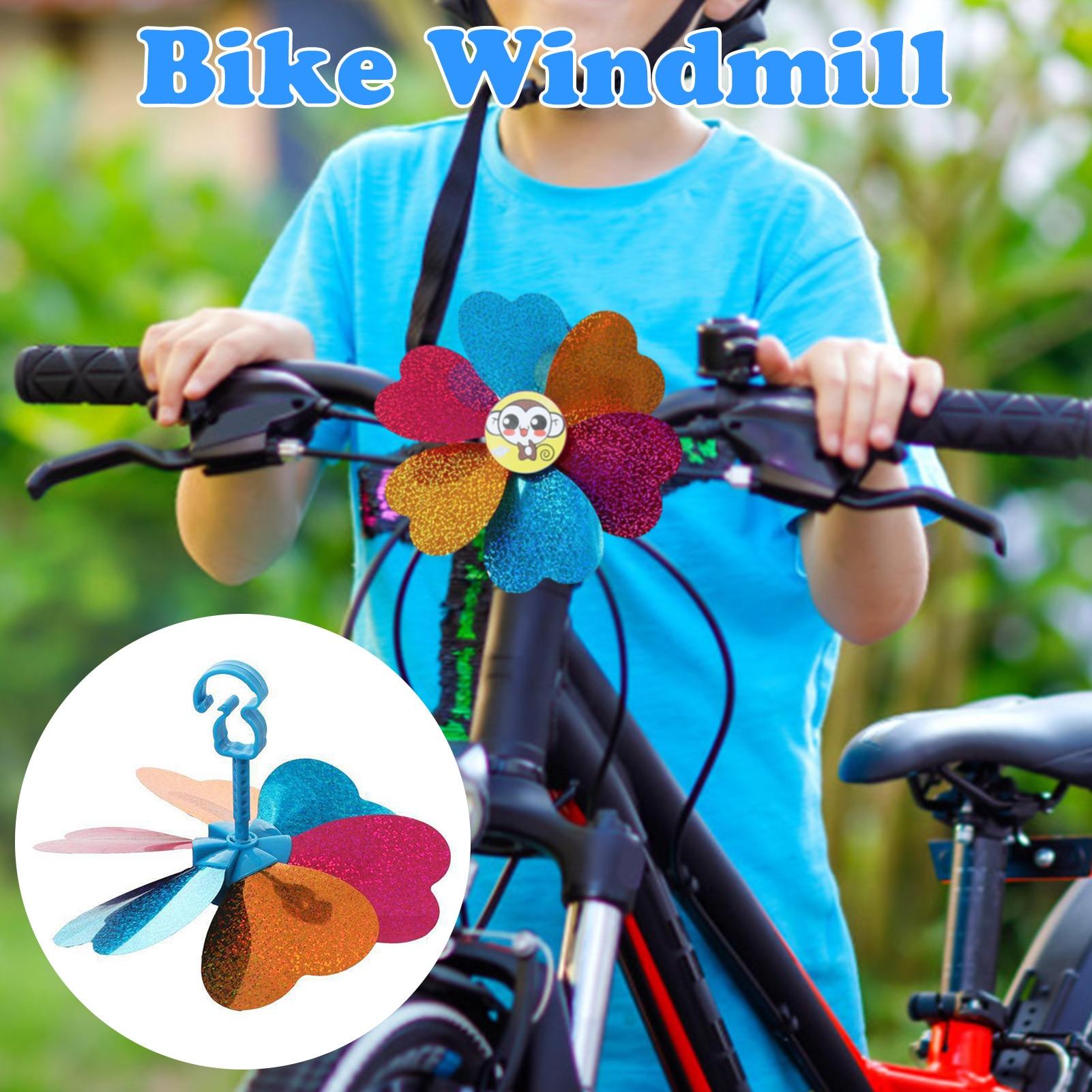 Bike Windmill Cartoon Colorful Plastic Handlebar Pinwheel Childrens Scooter Breaststroke Bike Windmill Accessories New