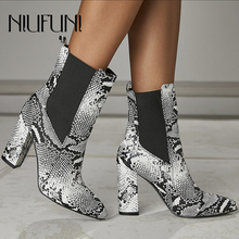 Sexy Snake Pattern Women Sleeve Boots Ankle High Heels Pointed Toe Ladies Shoes 2019 New Chelsea Plus Size 35-42