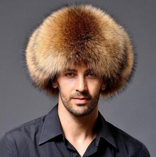 Real Raccoon Hats Men's Trapper Hats Fur&Lamb Leather Russian Cossack Trapper Hats Men's Winter Hats