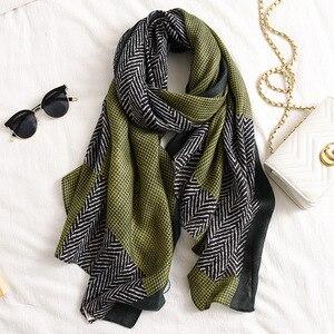 Image 5 - Fashion Gradient Striped Line Fringe Viscose Shawl Scarf Women High Quality Printe Pashmina Stole Bufandas Muslim Hijab 180*90Cm