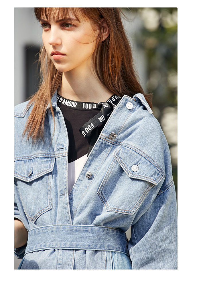ONLY 19 Women's Loose Fit tie-up Casual Denim Jacket |119154529 7